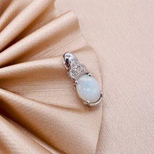 EUC 14k White Gold Opal & Diamond Pendant